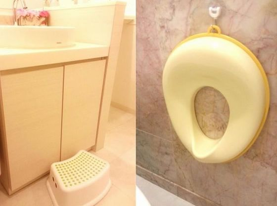 トイレにはお子様用の補助便座と踏み台をご用意