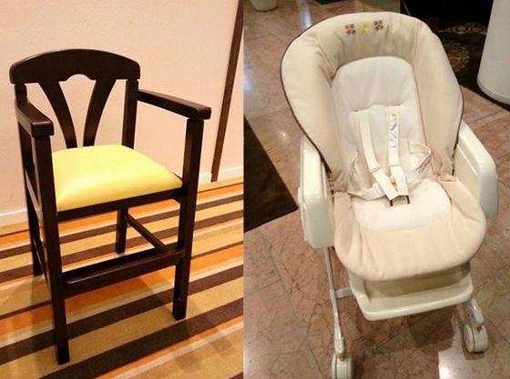 ハイローチェアやお子様用椅子をご用意。ご希望でチェアベルトもございます。