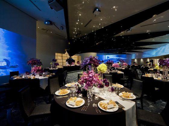 水族館、花火、夜景などロマンチックな映像と豊富な会場コーデ
