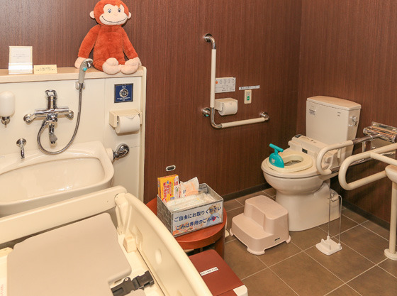 ステップや子供用便座を取りそろえたお手洗い
